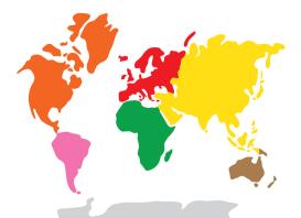 carte du monde continents Montessori